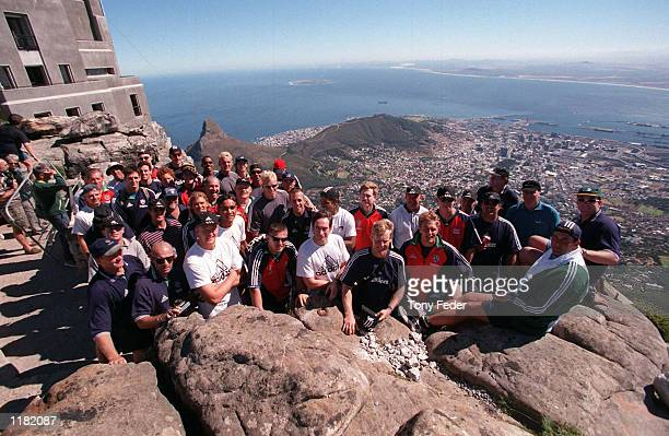 The Fremantle team on top of Table Mountain while in South Africa to play a pre season Ansett Cup match against Brisbane to promote football overseas...