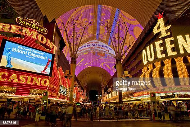 The Fremont Hotel and 4 Queens Casinos, part of the Fremont Street Experience located in downtown, are seen in this 2009 Las Vegas, Nevada, evening...