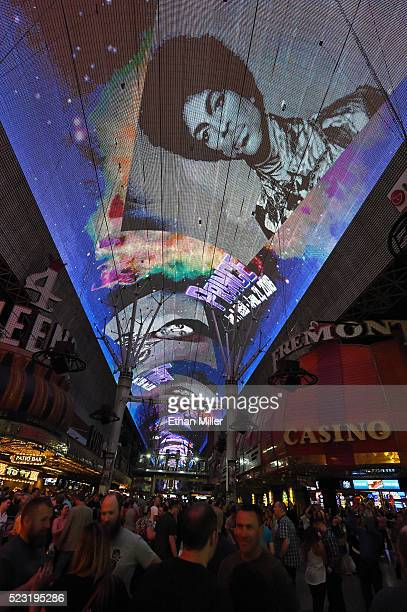 The Fremont Street Experience pays tribute to recording artist Prince with a photo retrospective on the attraction's Viva Vision screen while playing...