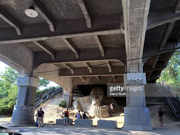 The Fremont Troll under the George Washington Memorial Bridge in the Fremont neighborhood of Seattle WA