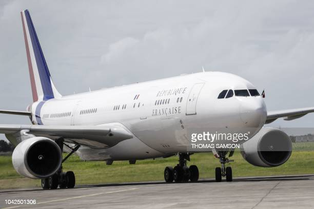 The French A330 Airbus presidential plane lands in PointeaPitre Guadeloupe on September 28 during a trip of French President in the French West...