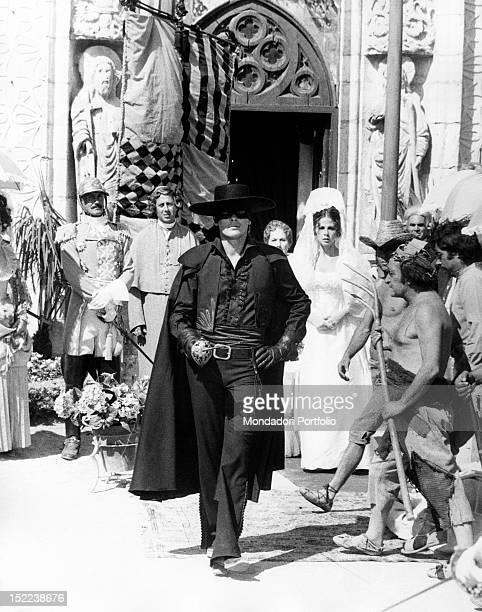 The French actor Alain Delon and Italian actors Giacomo Rossi Stuart Adriana Asti Ottavia Piccolo acting in 'Zorro' Madrid 1974