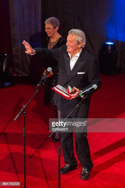 The French actor Alain Delon receives the Lifetime Achievement Award at Transylvania International Film Festival in Cluj Napoca city June 10 2017 The...