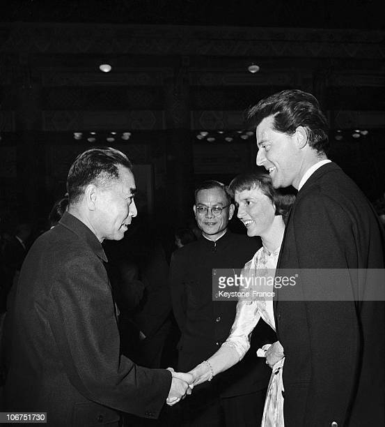 The French Actor Gerard Philipe His Wife Anne Philipe And The Chinese General And Statesman Chou EnLai In Peking On March 26 1957
