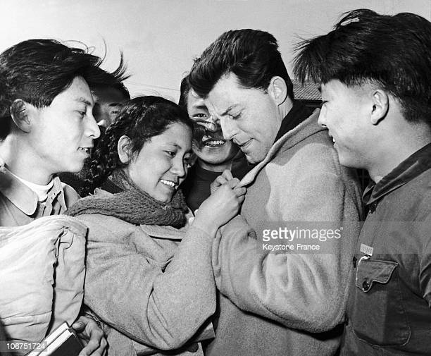 The French Actor Gerard Philipe In Peking China On March 4 1957 He Is Pictured Signing Autographs For Students From The Cinema Institute