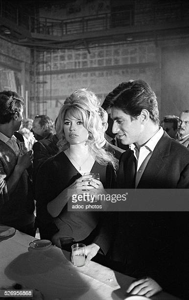 The French actors Brigitte Bardot and Sami Frey during the shooting of the film 'La V��rit��' directed by HenriGeorges Clouzot in 1960