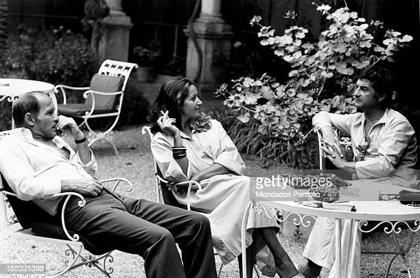 The French actors Francoise Fabian and her husband Marcel Bozzuffi taking a break before attending the prize giving ceremony of 'David di Donatello'...