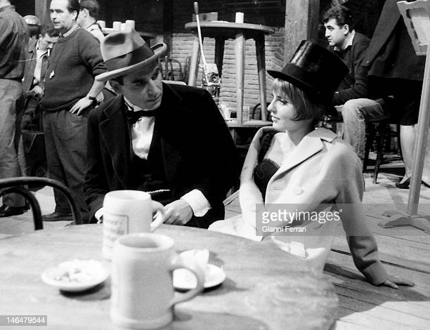 The French actors Marie France Pisier and Robert Hossein during a break in the filming of the movie 'The Vampire of Dusseldorf' Madrid Spain
