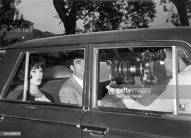 The French actors Michel PICCOLI and Brigitte BARDOT begin the shooting of the film LE MEPRIS under the direction of JeanLuc GODARD in Rome on April...
