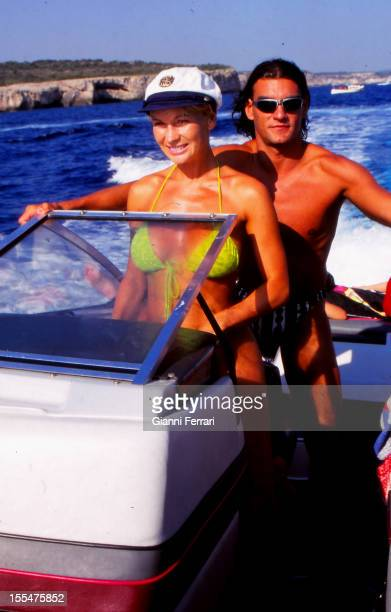 The French actress and dancer Marlene Mourreau on holiday on the island of Menorca with her boyfriend the Cuban dancer Michel Guevara 11th August...