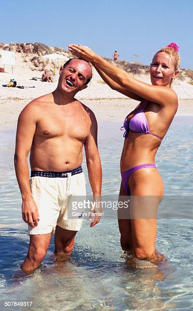 The French actress and singer Marlene Mourreau with the Spanisah actor Pepe Viyuela in the beech of Son Bou 17th August 1998 Menorca Balearic Islands...