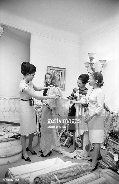 The French actress Brigitte Fossey making fittings to Carven in Paris In 1965