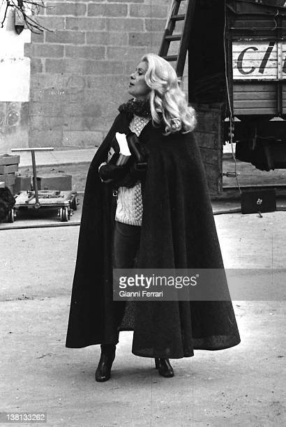 The French actress Catherine Deneuve during the filming of the movie 'La femme aux bottes rouges' 7th December 1970 Madrid Spain