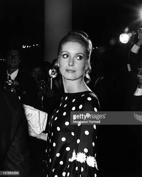 The French actress Catherine Deneuve guest at the Venice Film Festival for the premiere of the film 'Belle De Jour' Venice September 1967