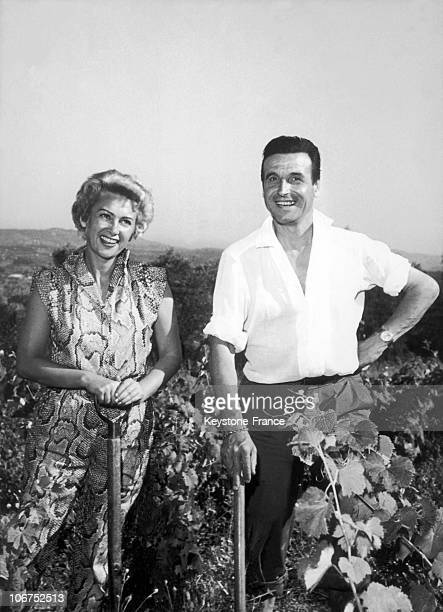 The French Actress Martine Carol And Her Husband The FilmMaker Christian Jaque Around 19561958