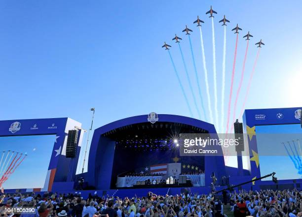 The French Air Force Rafale display team fly over during the opening ceremony for the 2018 Ryder Cup at Le Golf National on September 27 2018 in...