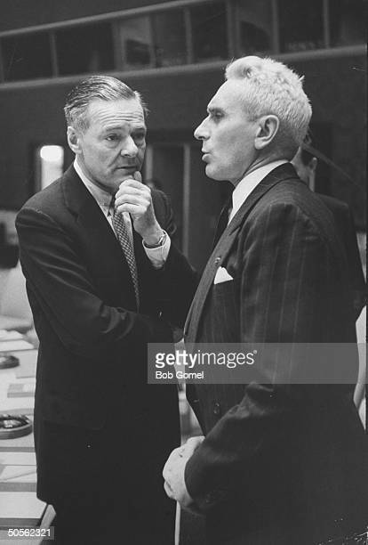 The French and American ambassadors to the United Nations Armand Berard and Henry Cabot Lodge Jr talk during a United Nations security council...