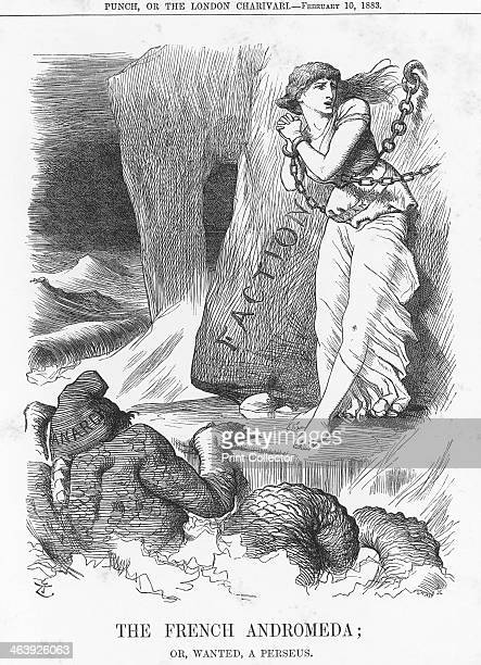 'The French Andromeda or wanted a Perseus' 1883 France is chained like Andromeda to a rock In the foaming sea in front of her Anarchy can be seen...