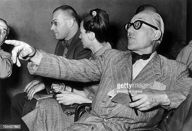 The French architect of Swiss origin LE CORBUSIER in the audience at the DE DIVINA PROPORTION congress in Milan in 1953
