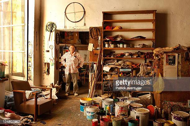 The french artist and master of SupportSurfaces art Claude Viallat in his studio at Nimes preparing the decoration for Goyesca bullfights in the...