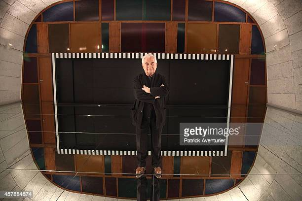 The French artist Daniel Buren in front his work DEFINIFINIINFINI at MaMo on October 25 2014 in Marseille FranceDuring the fashion Pop Philosophie...