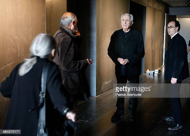 The French artist Pierre Soulages and his wife colette visit the museum that bears his name on April 11 2014 in Rodez FranceThe Soulages Museum in...