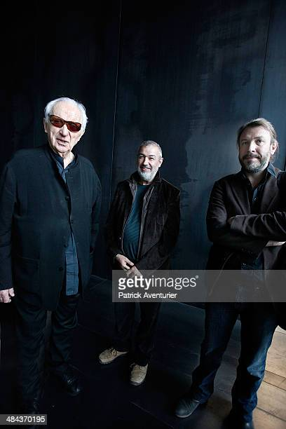 The French artist Pierre Soulages and the achitects visit the museum that bears his name on April 11 2014 in Rodez FranceThe Soulages Museum in Rodez...