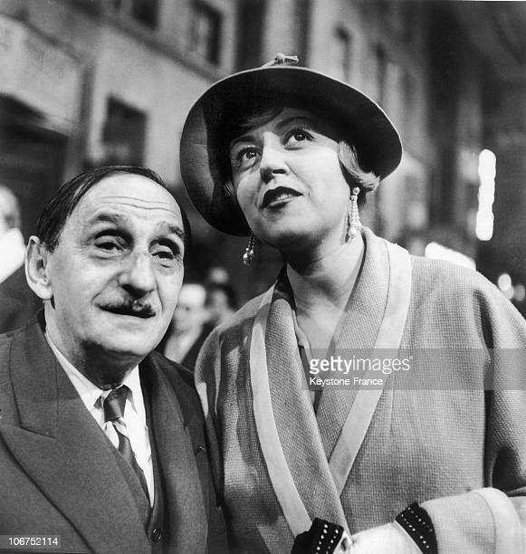 The French AuthorComposer Vincent Scotto And The Actress Suzy Delair At BoulogneBillancourt On November 23 1949 Suzy Delair Is The Main Actress Of...