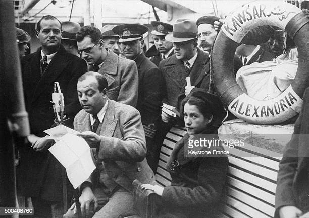 The French aviator Antoine de SaintExupery returning to France with his wife Consuelo Gomez Carillo de Saint Exupery aboard the 'Kawsar' coming from...