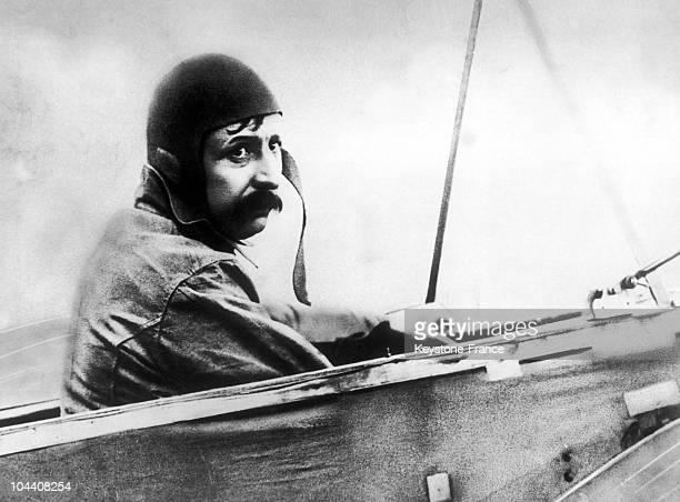 The French aviator Louis BLERIOT posing on board the BLERIOT XI, an aeroplane he built on his own. He was ready to fly across the Channel in 32...