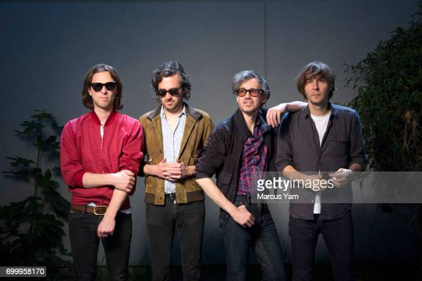 The French band Phoenix comprised of Thomas Mars Deck d'Arcy Christian Mazzalai and Laurent Brancowitz are photographed for Los Angeles Times on June...