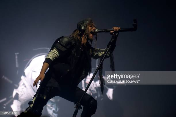 The French band Shaka Ponk singer Frah performs on stage during the 42th edition of 'Le Printemps de Bourges' rock and pop music festival in Bourges...