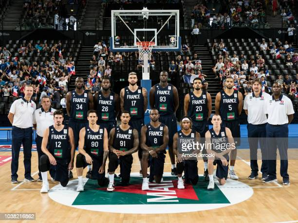 The French basketball team pose for a group photograph before the FIBA Basketball Wolrd cup 2019 qualifier match between France and Finland at the...