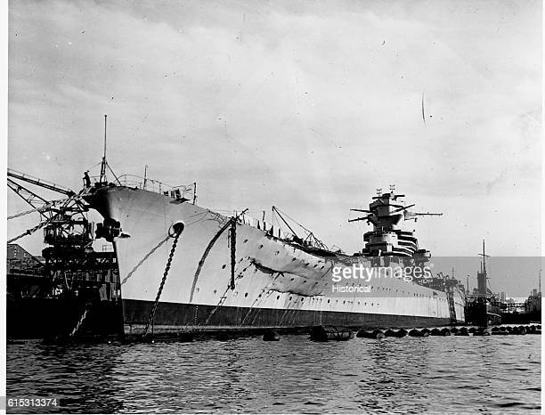 The French battleship Jean Bart was damaged by shell fire and bombs during the US campaign in North Africa November 1942 | Location harbor in north...