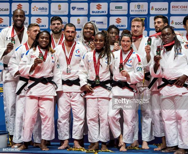 The French bronze medal winning judo team including Teddy Riner Amandine Buchard Helene Receveaux Clarisse Agbegnenou Emilie Andeol Cyrille Maret...
