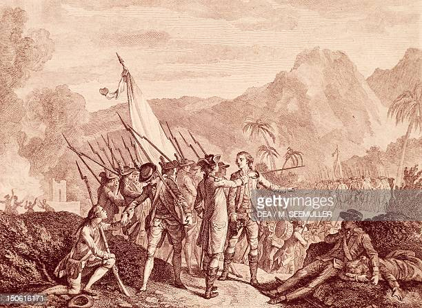 The French capture of Tobago by Francois Godefroy engraving American War of Independence Trinidad and Tobago 18th century