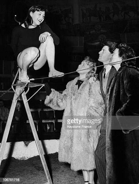 The French Cinema And Theatre Artists Rosine Luguet Colette Richard Gerard Philipe And Micheline Presle In Paris At The CirqueD'Hiver On April 9 1948...