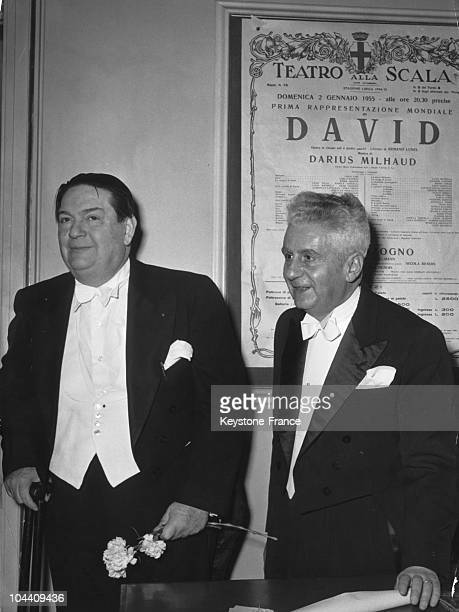 The French composer Darius MILHAUD and the librettist Armand LUNEL during the world premiere of the opera DAVID in Milan on January 2 1955