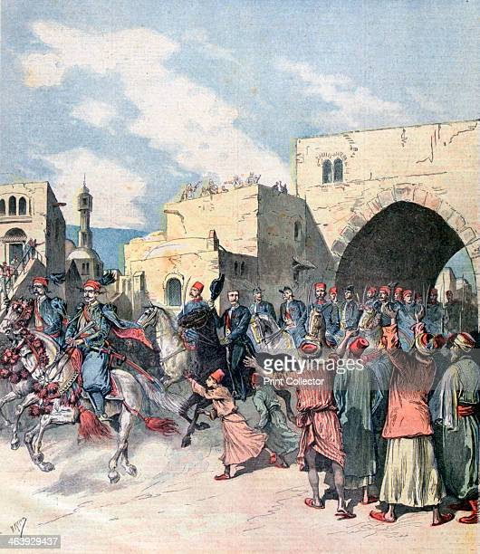 The French consul arrives in Bethlehem during Christmas festivities 1892 Bethlehem was under the control of the Ottoman Empire at the time A print...