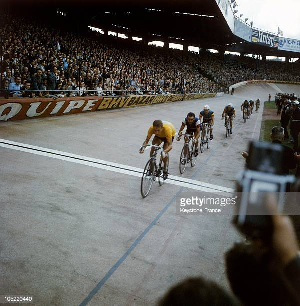 The French Cyclist Jacques Anquetil Winner Of The Tour De France, Upon His Arrival In Paris At The Parc Des Princes On July 16, 1961.Anquetil,...