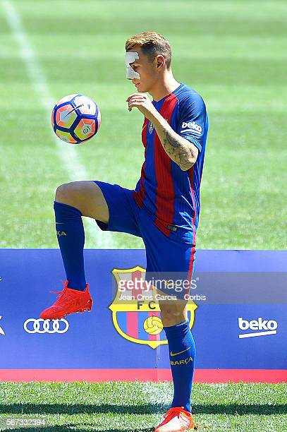 The French defender, Lucas Digne, during his launch after sign with the F.C.Barcelona as its new player, on July 16, 2016 in Barcelona, Spain.