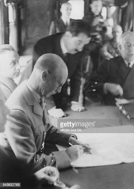The french delegation lead by general Charles Huntziger at the ceasefire conference in Compiègne 1940 Photographer Heinrich HoffmannVintage property...