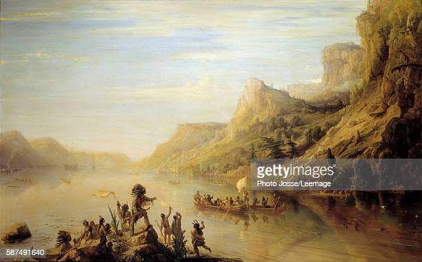 The French explorer Jacques Cartier discovering and climbing up the Saint Lawrence River in 1535 Painting by Jean Antoine Theodore Gudin 142x266 cm...