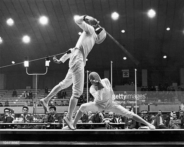 The French Fencer Daniel Revenu Facing The Austrian Roland Losert On The Men'S Final At The Olympic Games Of Tokyo In 1964 Revenu Finished 3Rd And...