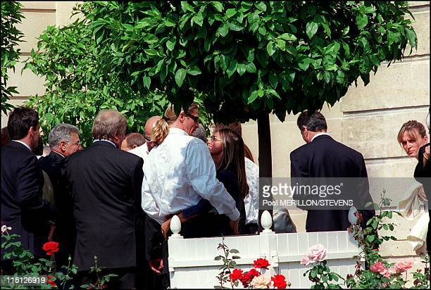 The French football team invited by Jacques Chirac at the Elysee Palace in Paris France on August 31 2000 Emmanuel Petit and girlfriend Agathe