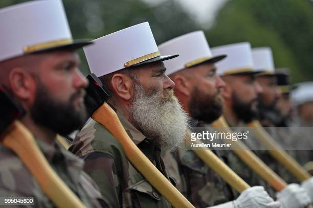 The French Foreign Legion march down the Champs Elysee during the Bastille Day military ceremony rehearsals on July 10 2018 in Paris France The...