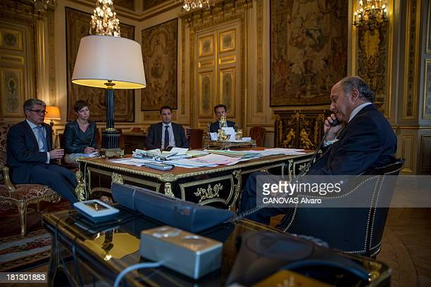 The French Foreign Minister Laurent Fabius in his office on August 29 2013 in France