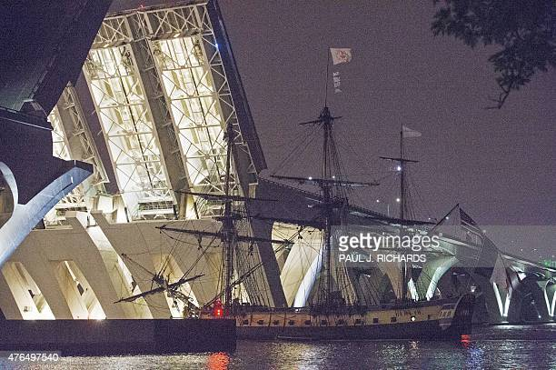 """The French frigate """"L'Hermione,"""" a replica of the ship that brought General Lafayette to the United States in 1780 to rally the American rebels..."""