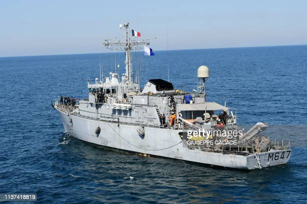 The French FS L'Aigle ship sails during a joint demining drill between the US British an French Navy in the Arabian Gulf on April 15 2019 The US...