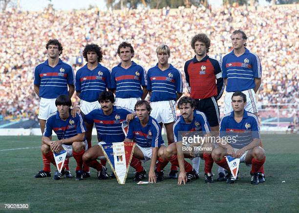 The French gold medal winning team pose for a prematch team group before their match with Brazil in the final of the football tournament at the 1984...